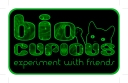 """BioCurious logo with tagline """"experiment with friends"""" and the cat mascot"""