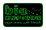 "BioCurious logo with tagline ""experiment with friends"" and the cat mascot"