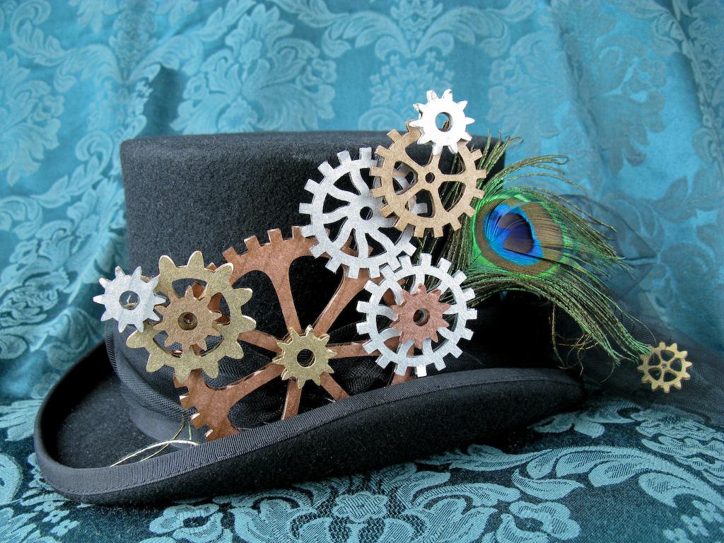 Gear collage hat decoration